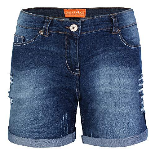 BlauerHafen Damen Jeans Shorts Destroyed Bermuda Stretch Hotpants Denim Kurze Hose (46 (Taille: 96-98cm), Dunkelblau)