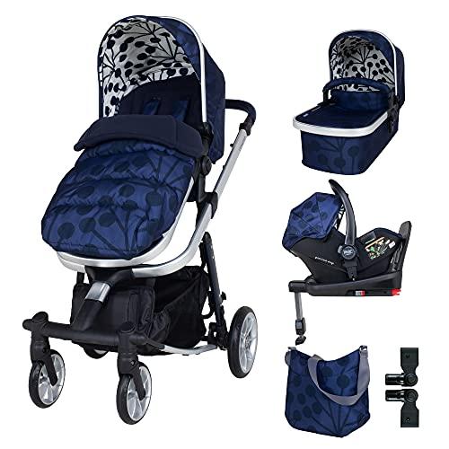 Cosatto Giggle Quad - Juego de cochecito y silla de paseo - desde el nacimiento hasta 20 kg, asiento de coche de bebé, base i-size, funda de lluvia, adaptadores, bolsa y saco de pie, tinta Lunaria