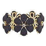 LUX ACCESSORIES Black Floral Flower Crystal Stretch Bracelet
