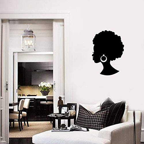 Tired African Girl Wall Stickers Beautiful Black Lady Beauty Salon Hair Earrings Mural Decoration Modern Bedroom Vinyl Wall Stickers Very Melancholy
