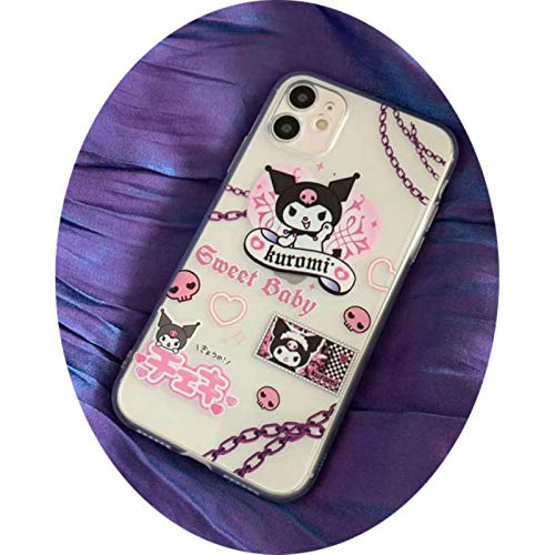 Japan Anime Kuromi My Melody Sweet Baby pink Purple case for iPhone 11 Pro MaX XR XS Max Case for iPhone X 8 7 6 Soft Back Cover,2,for iPhone 11
