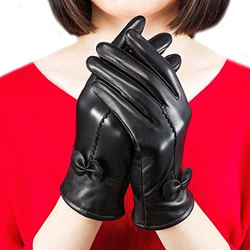 fletion Mujer Ladies Luxury suave oveja guantes de piel con forro polar de 100% de guantes de piel para equitación de invierno negro talla única