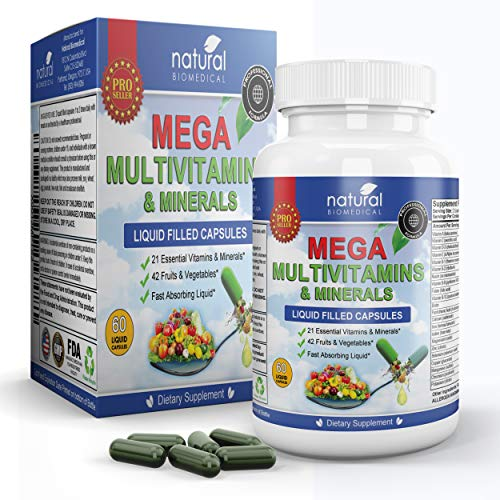 WOMENS MENS FOOD VITAMIN COMPLEX Best Daily Natural Immune System Booster for Adults Health FEEL ALIVE EVERY DAY WITH NATURES GARDEN NUTRITION PILLS Complete Meal Formula In a Pill Adult Life SUPER ENERGY SUPPLEMENTS With WHOLE FOODS Plus Iron Magnes...