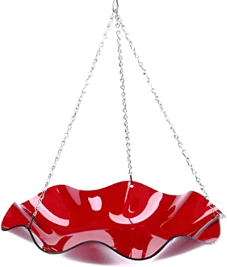 Birds Choice Hanging Acrylic Bird Bath, Red