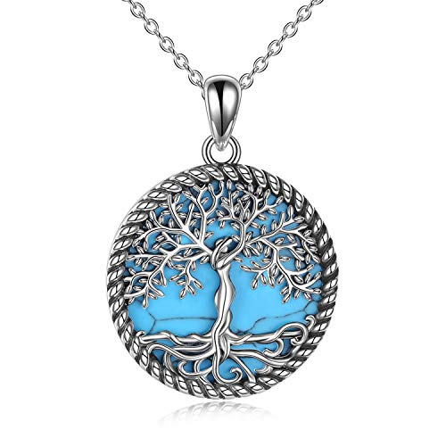 YAFEINI Tree of Life Necklace Sterling Silver Turquoise Tree of Life Pendant Necklace for Women Jewelry