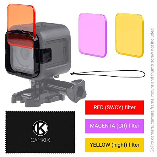 CamKix Juego de filtro de lentes de Buceo Compatible con GoPro HERO 5 / 4 Session Camara – Mejora colores para Varios Videos submarinos y Condiciones de Fotografia – Colores vivos, Mejora contraste, vision nocturna (GoPro HERO 4 Session, 3 Filtros: rojo / magenta / amarillo)