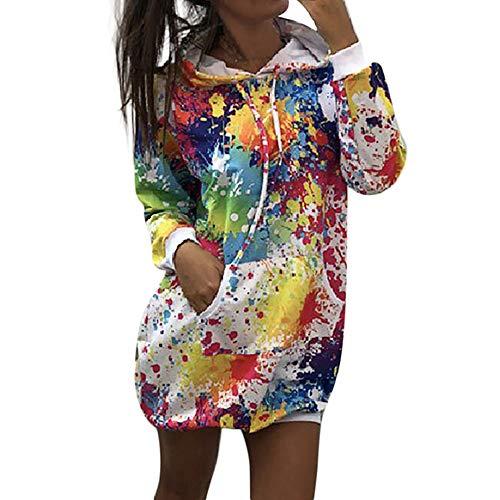 FRAUIT Graffiti die Druck-Mantel Damen Outwear Sweatshirt Pullover Frauen Mädchen mit Kapuze Jacken färbt Weisefrauen-Bindung Kleidung Kapuzenpullover Bluse Tops Outwear S-2XL (M, X-Weiß)