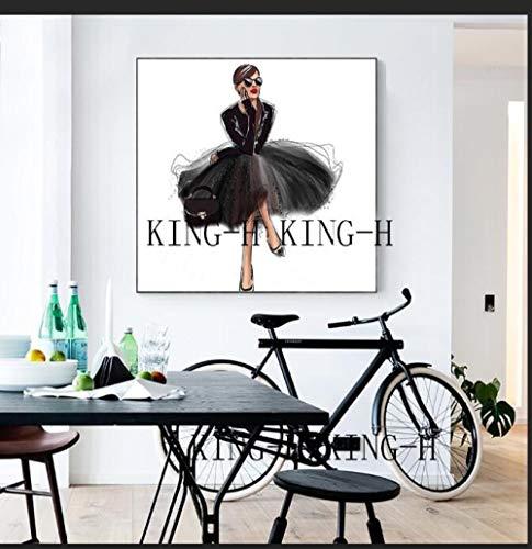 mmzki Gemälde Kalligraphie Menschen Hand Wand Ölgemälde Darstellung der modernen Tanzfigur Ölgemälde Leinwand für das Wohnzimmer Schmuck Kunst auf Leinwand-50x50CM_kingh2