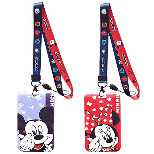 Correa Para el Cuello, 2 Piezas Cordón de Mickey Mouse de Disney, Cinta Cuello Tarjeta Identificativa, Correa Para el Cuello de Gran Calidad Con Estampado de Colores Por Los Dos Lados (Azul/Rojo)