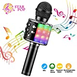 ShinePick Micrófono Karaoke Bluetooth, Microfono Inalámbrico Karaoke Portátil con Altavoz y LED para Niños Canta Partido Musica, Compatible con Android/iOS PC, AUX o Teléfono Inteligente (Negro)
