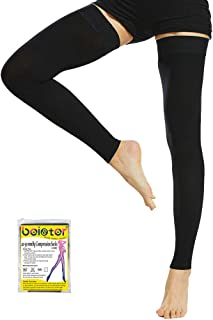 Beister Thigh High Footless Compression Sleeves with Silicone Band for Women & Men, Firm 20-30 mmHg Graduated Support for Varicose Veins, Edema, Flight