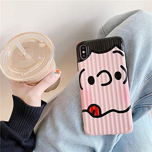 Mobiele telefoon geval, leuk blokkeren gezicht, grappig, cartoon, paar, eenvoudige, gepersonaliseerde koffer strepen, gebogen koffer, 7/8 left tongue Snoopy