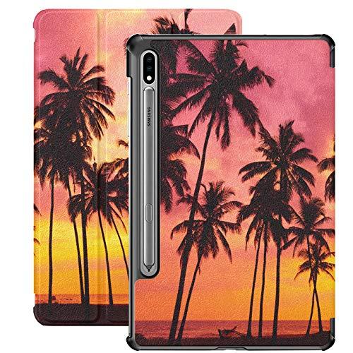 Siluetas de Palmeras en la Playa Tropical Samsung Galaxy Tab A Funda para Samsung Galaxy Tab S7 / s7 Plus Galaxy S7 Plus Funda con Soporte para Tableta con Funda para Galaxy Tab S7 11 Pulgadas S7 Plu