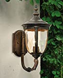 Bellagio European Outdoor Carriage Light Fixture Vintage Bronze Curved Arm Hammered Glass Sconce for Exterior House Porch Patio Outside Deck Garage Yard Front Door Garden Home - John Timberland