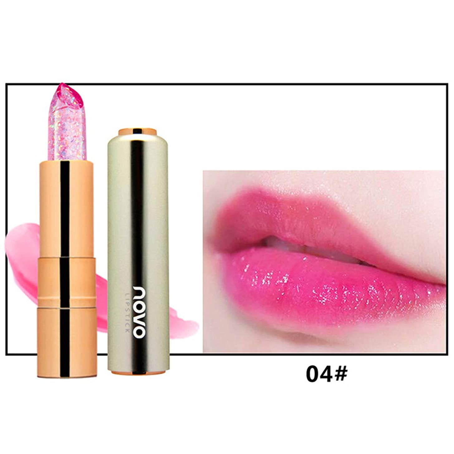 均等にコンデンサースキルKimyuo 新しい到着化粧口紅保湿剤透明マジック温度花の色長持ちリップスティックリップ