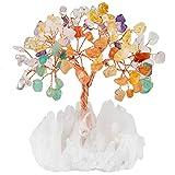 mookaitedecor Mehrfarbiger Kristall Baum mit Bergkristall als Basis und bewickeln mit Kupferdraht, schönes Symbol für Reichtum und Glück, Familie Büro Dekoration