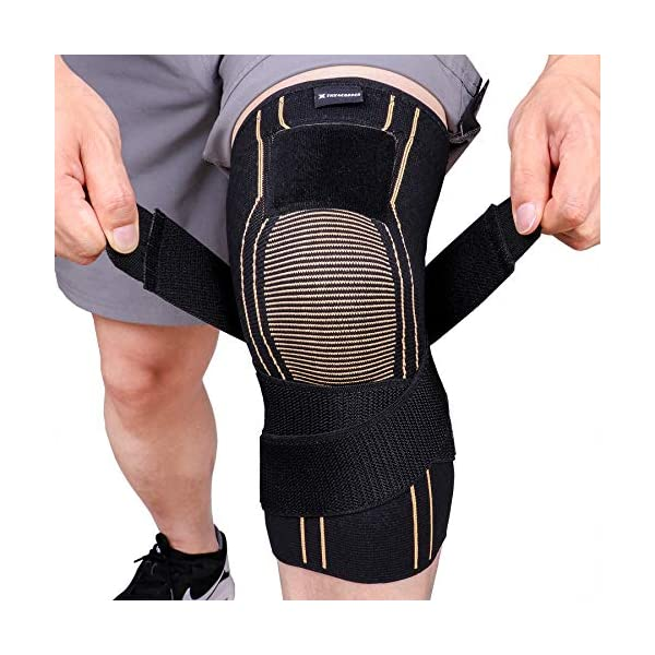 Thx4COPPER Sports Compression Knee Brace with Adjustable Strap, Arthritis Relief,...