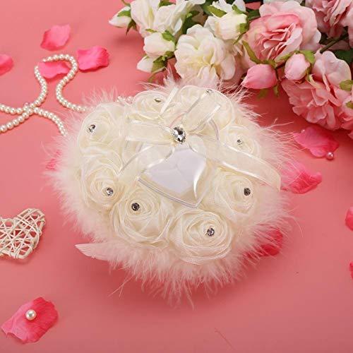 Almohada de anillo Soporte de anillos de novia en forma de corazón Almohada de anillo de corazón suave al tacto Decoración de la habitación de matrimonio para colocar un par de anillos(Ivory, Big)