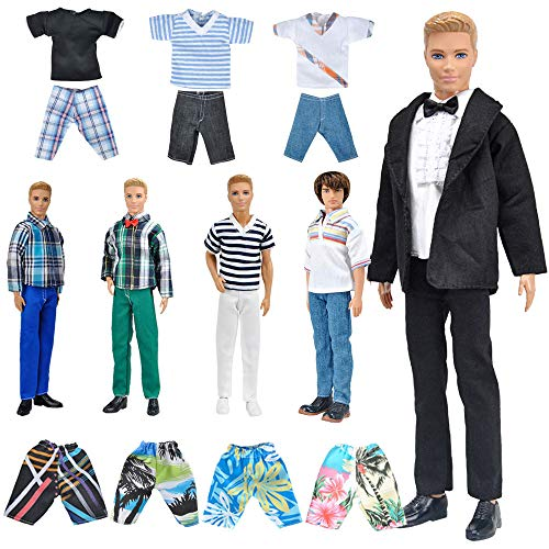 ETING 10Item Fantastic Pack = 5 Sets Fashion Casual Wear Clothes Outfit with 5 Pair Shoes for boy Doll Random Style Casual Wear Clothes  Black Suit  Swimwear