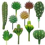 Cayway 10 Pz Succulente Piante Artificiali, Cactus di Artificiali Piante Grasse Finte Decorative Uncotted Faux Flower Succulente per Parete DIY Home Decor