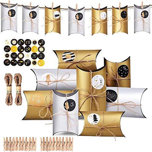 WELLXUNK® Calendario de Adviento, Navidad Cajas de Regalo Pequeñas, Cajas de Almohadas Papel Kraft con Pegatinas Numeración 24 para Navidad Fiesta Artesanias Decoración