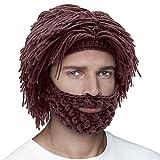 Men Women Knit Bearded Hats Handmade Wig Winter Warm Ski Mask Beanie Brown