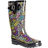 SheSole Womens Ladies Wellies Mid Wide Calf Tall Rain Wellington Boots Waterproof Rubber Floral Printed Black UK Size 6