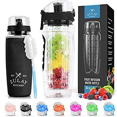 Zulay (34oz Capacity) Fruit Infuser Water Bottle With Sleeve - BPA Free Anti-Slip Grip & Flip Top Lid Infused Water Bottles for Women & Men - Water Infusion Bottle With Cleaning Brush - Onyx Black by Zulay Kitchen