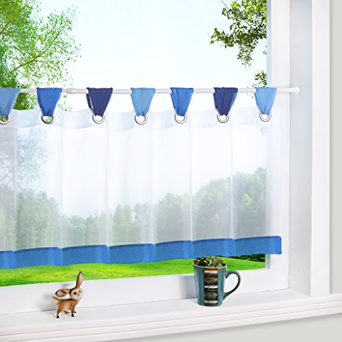 Yujiao Mao Bunte kleine Kaffee Vorhang Terri Garn Raffrollo H*B 45 * 90cm, Blau