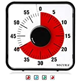 Secura Kitchen Timer 60-Minute Mechanical Visual Timers for Cooking, 7.5-Inch Oversize Countdown Clock for Teaching, Meeting, Facial with Magnetic Backing, Collapsible Legs, Hanging Hole (Red)