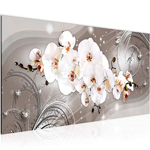 Pintura Mural Flores Orquídea 1 Parte Moderno Cuadro Lienzo no Tejido Sala Corredor Abstracto Beige Marrón 006212b
