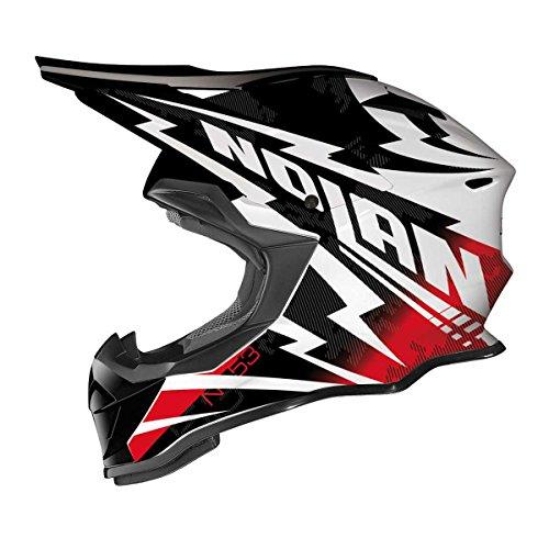 Casco Nolan N53Comp MX, colore nero/bianco/rosso, taglia XS (53/54)