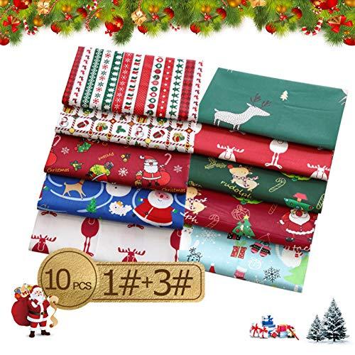 10pcs Baumwollstoff Weihnachten,Weihnachten Muster Baumwollstoff,Weihnachtsstoffe,Weihnachten Stil Patchwork DIY,Patchwork Stoffe Weihnachten Stil,Weihnachten Stoffpakete,Weihnachtsmotiv Baumwollstoff