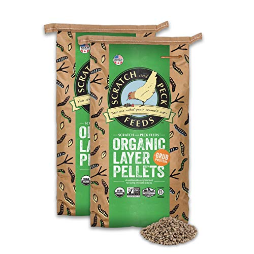 Scratch and Peck Feeds Naturally Free Organic Chicken Feed Layer Pellets with Grub Protein - 50-lbs. - Non-GMO Project Verified, USDA Organic - 2024-50