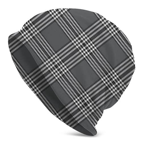 landianguangga Gorra de reloj gris negro y blanco con diseño de rayas, gorro de invierno para hombres y deportes