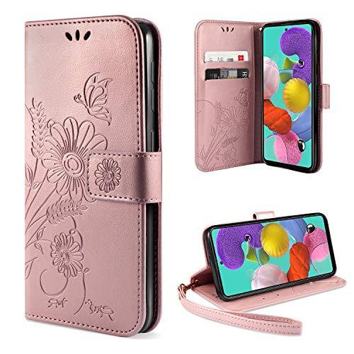ivencase für Samsung Galaxy A51 Hülle Flip Lederhülle, Samsung A51 Handyhülle Book PU Leder Tasche Hülle mit Kartenfach & Magnet Kartenfach Schutzhülle für Samsung A51 - Pink-Gold