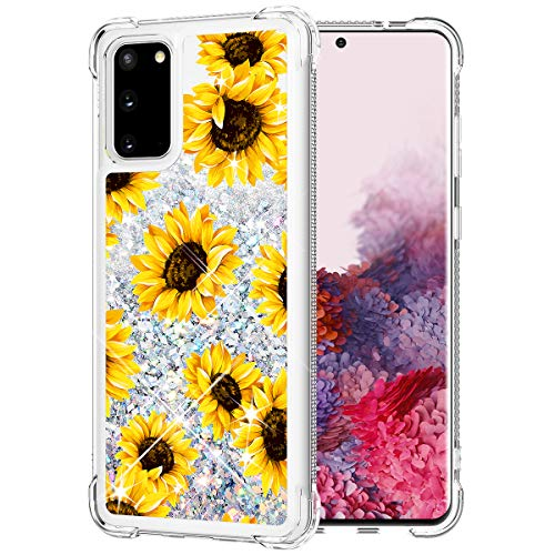 Caka Glitter Case for Galaxy S20 Case Flower Bling Liquid Sparkle Fashion Girly Girls Women Floral Pattern Yellow Flowing Quicksand Bumper Cushion Case for Galaxy S20 5G 6.2 inches 2020 (Sunflower)