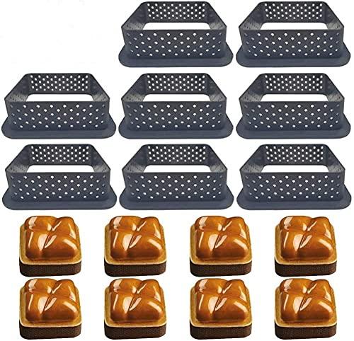 8 moldes para tartas con forma de mousse, herramienta de decoración, cuchillo perforado, para hornear, aparatos para hornear, moldes de anillo de metal, para decoración de tartas (cuadrados)