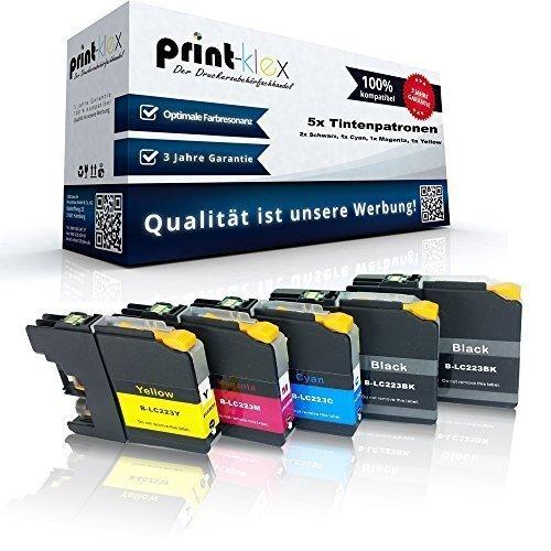 5x kompatible Tintenpatronen für Brother LC-223 XL LC-225 XL MFC-J4620 DW MFC-J4625 DW MFC-J5320 DW - Sparpack - Color Line Serie - 2x Black 1x Cyan 1x Magenta 1x Yellow