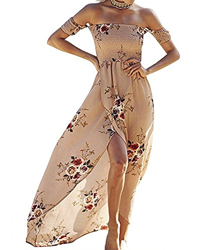SVALIY Women Floral Off The Shoulder Split Chiffon Maxi Beach Dress Wedding Party Khaki,Large