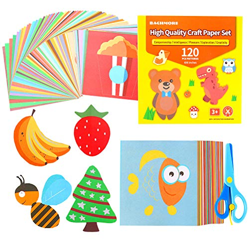 Fun Paper-Cut Set,Origami Paper Art; Scissor Skills Activity Cutting Book; Kids Scissors Crafts Kits Preschool-120 Pages with A Pair of Child-Safe Scissors Beginners Trainning and School Learning