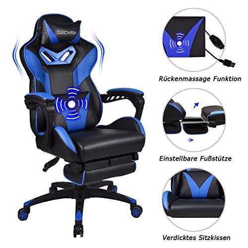 YU YUSING Massage Racing Gaming Stuhl Bürostuhl - Ergonomisches Sportsitz höhenverstellbarer Computerstuhl Chefsessel Schreibtischstuhl mit Kopfstützen, verstellbaren Armlehnen und Fußstützen (Blau)