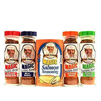 Chef Paul Prudhomme| Magic Seasoning Blends Variety Packs  2 Oz Poultry Blackened Redfish Meat Seafood   7 Oz Salmon  | Total Pack of 5