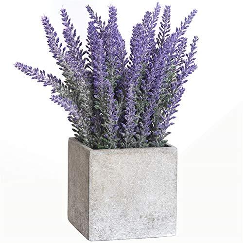 Fule Artificial Lavender Floral Arrangement in Grey Paper Pulp Pot for Home Kitchen Party Wedding Garden Office Patio Decor