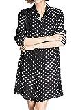 Luna et Margarita La Camisa de Vestir de la Mujer Blanco y Negro de Manga Larga Guisantes de Vestir Mi Blusa de Cuello Largo Talla 40