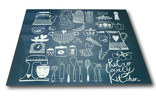 Best-Accessoires4All XL Glas Herdabdeckplatte Herdabdeckung Schneidebrett Abdeckplatte für Ceranfeld Design Retro Lovely Kitchen Kochfeld Abdeckung Spritzschutz Herdblende