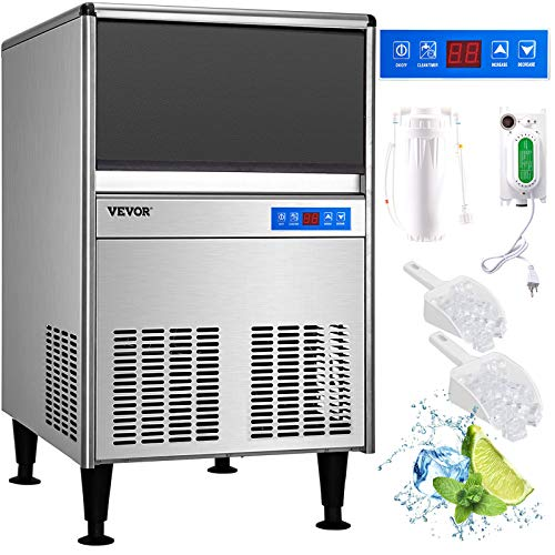 VEVOR 110V Commercial Ice Maker 125LBS/24H with 66LBS Bin, ETL Approved, Full...