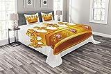 ABAKUHAUS Königin Tagesdecke Set, Krone Tiara mit Edelsteinen, Set mit Kissenbezügen Sommerdecke, für Doppelbetten 220 x 220 cm, Orange & Puder Rosa