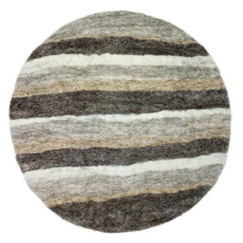 8-Natur® Rundes Stuhlkissen Filz Braun Grau aus 100% reinem Merinofilz - Polster Sitzkissen mit ca. 35 cm Durchmesser für Stühle, Bänke und als Auflage