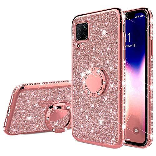 Uposao Compatibel met Huawei P40 Lite Case Cover met Diamand Ring Houder Kickstand Sparkle Glitter Zachte Siliconen Gel…